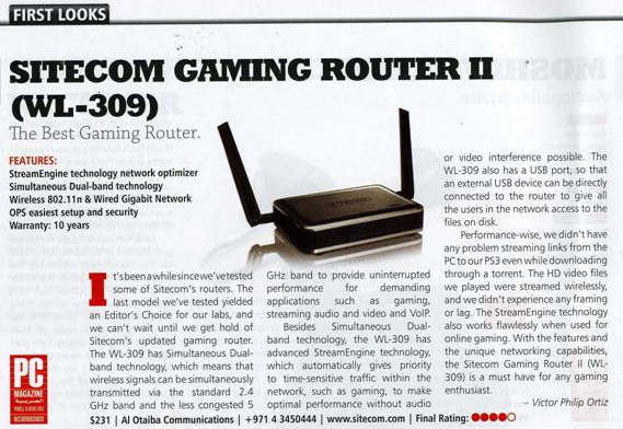 WL-309 Sitecom Gaming Router II - PC Magazine (UAE)